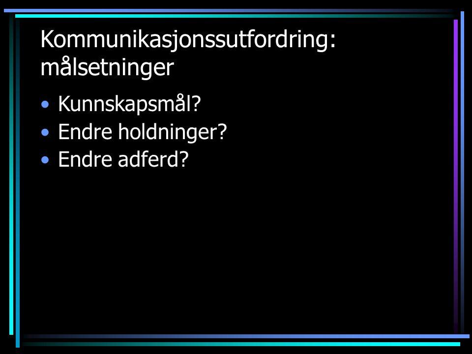 Kommunikasjonssutfordring: målsetninger •Kunnskapsmål? •Endre holdninger? •Endre adferd?