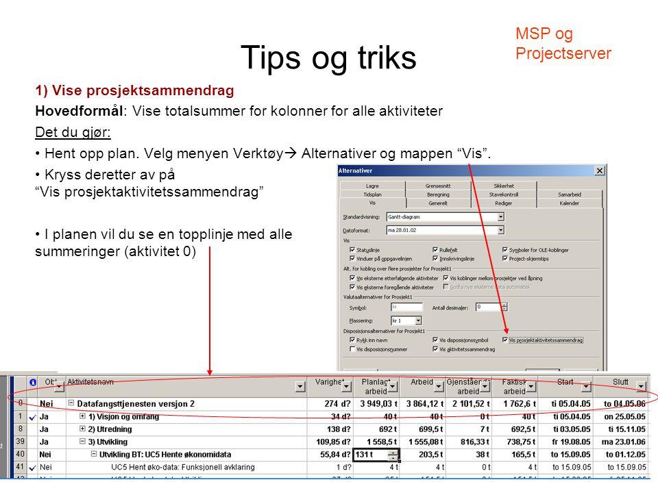 Tips og triks 1) Vise prosjektsammendrag Hovedformål: Vise totalsummer for kolonner for alle aktiviteter Det du gjør: • Hent opp plan. Velg menyen Ver