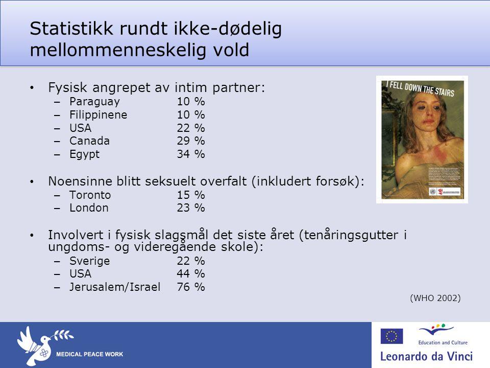 Statistikk rundt ikke-dødelig mellommenneskelig vold • Fysisk angrepet av intim partner: – Paraguay10 % – Filippinene10 % – USA22 % – Canada29 % – Egy
