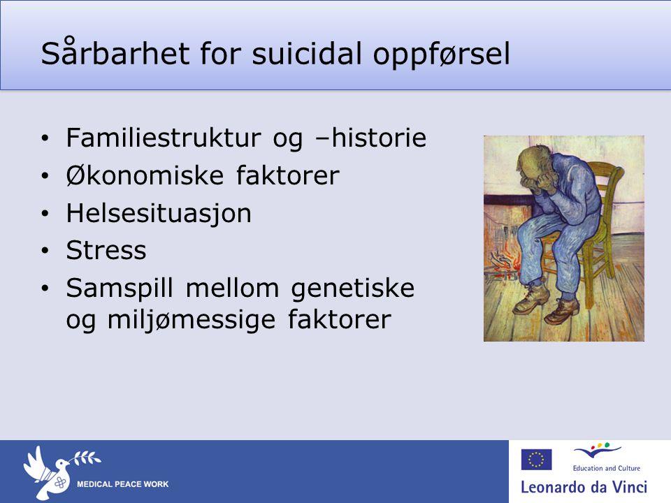Sårbarhet for suicidal oppførsel • Familiestruktur og –historie • Økonomiske faktorer • Helsesituasjon • Stress • Samspill mellom genetiske og miljøme