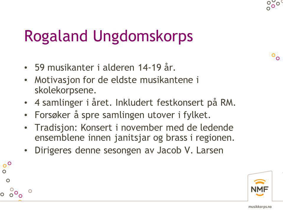 Rogaland Ungdomskorps • 59 musikanter i alderen 14-19 år.