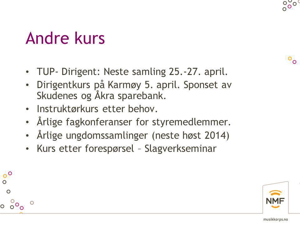 Andre kurs • TUP- Dirigent: Neste samling 25.-27. april.