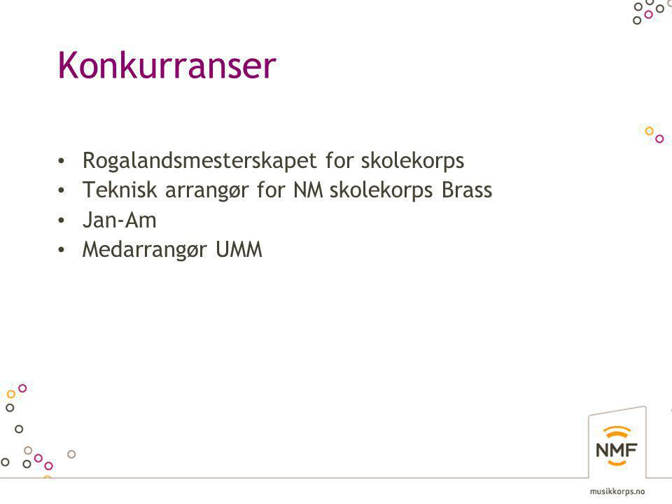 Konkurranser • Rogalandsmesterskapet for skolekorps • Teknisk arrangør for NM skolekorps Brass • Jan-Am • Medarrangør UMM
