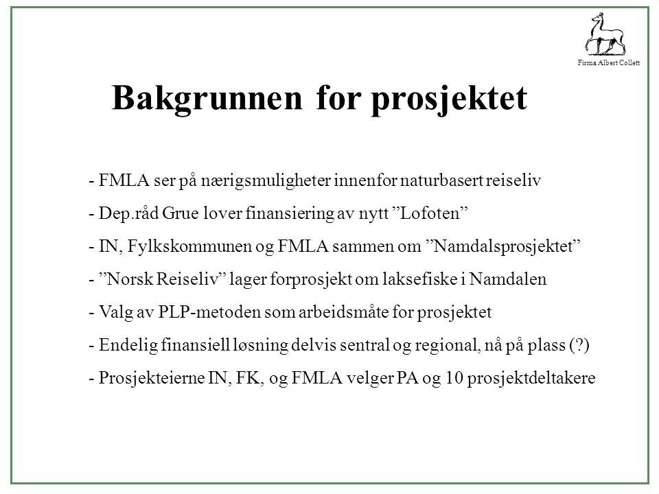 Firma Albert Collett Bakgrunnen for prosjektet - FMLA ser på nærigsmuligheter innenfor naturbasert reiseliv - Dep.råd Grue lover finansiering av nytt