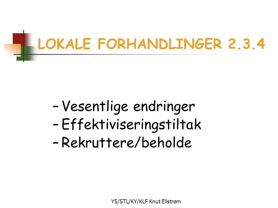 YS/STL/KY/KLF Knut Ellstrøm LOKALE FORHANDLINGER 2.3.4 –Vesentlige endringer –Effektiviseringstiltak –Rekruttere/beholde