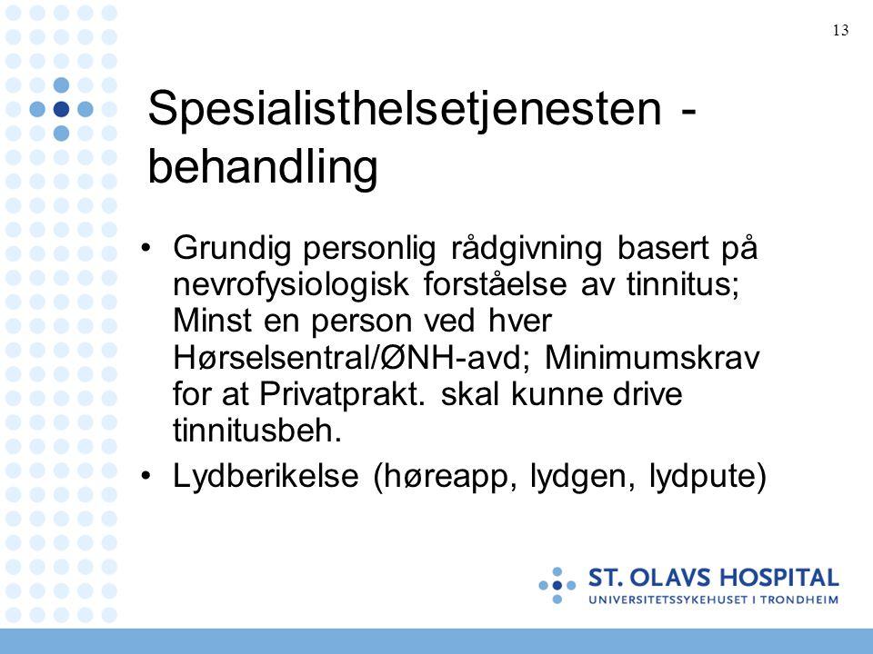 13 Spesialisthelsetjenesten - behandling •Grundig personlig rådgivning basert på nevrofysiologisk forståelse av tinnitus; Minst en person ved hver Hør