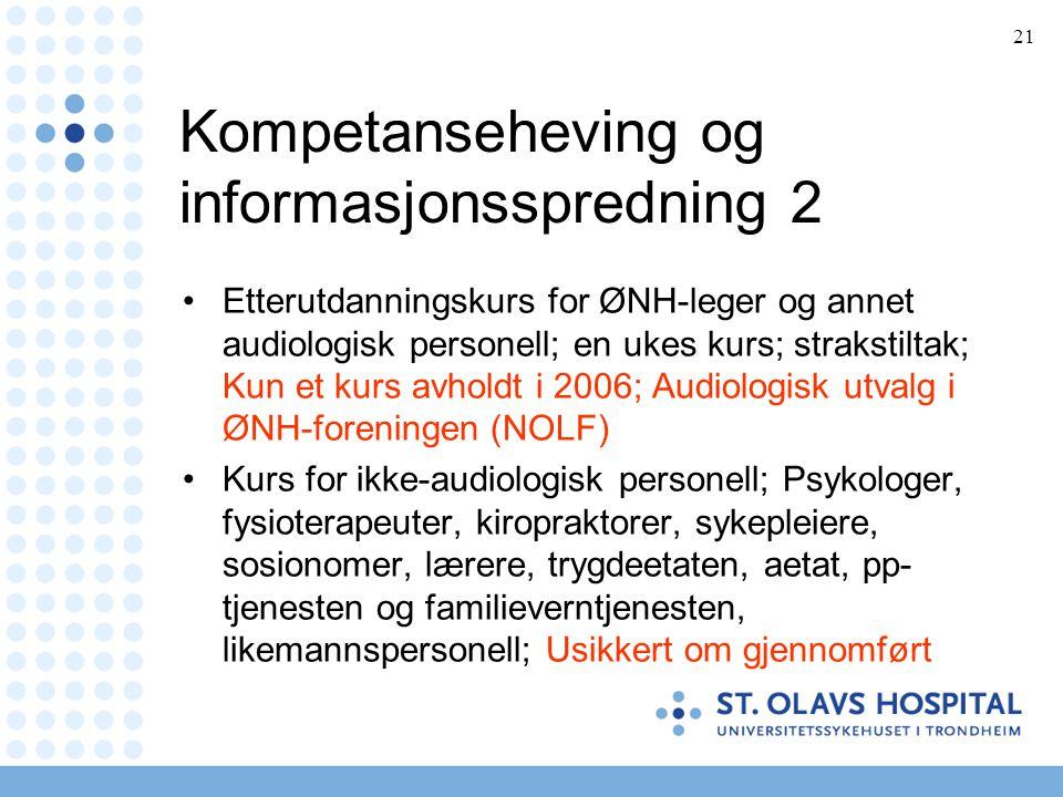 21 Kompetanseheving og informasjonsspredning 2 •Etterutdanningskurs for ØNH-leger og annet audiologisk personell; en ukes kurs; strakstiltak; Kun et k