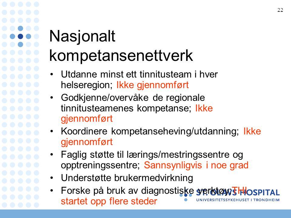 22 Nasjonalt kompetansenettverk •Utdanne minst ett tinnitusteam i hver helseregion; Ikke gjennomført •Godkjenne/overvåke de regionale tinnitusteamenes