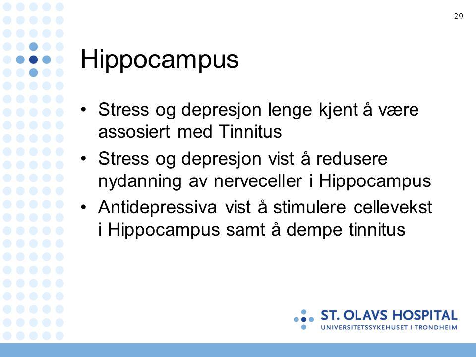 29 Hippocampus •Stress og depresjon lenge kjent å være assosiert med Tinnitus •Stress og depresjon vist å redusere nydanning av nerveceller i Hippocam