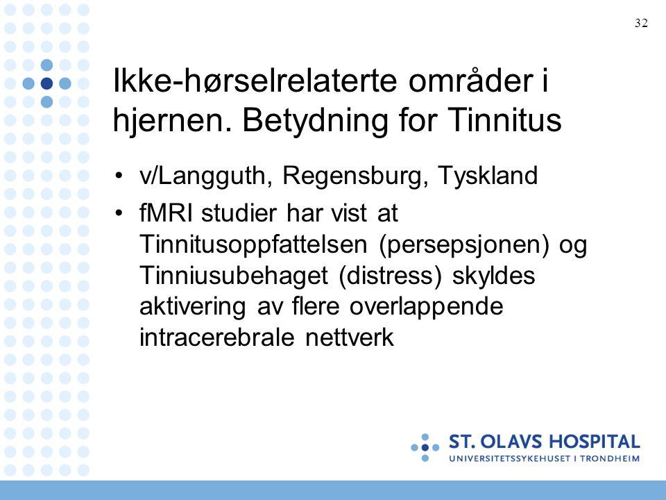32 Ikke-hørselrelaterte områder i hjernen. Betydning for Tinnitus •v/Langguth, Regensburg, Tyskland •fMRI studier har vist at Tinnitusoppfattelsen (pe