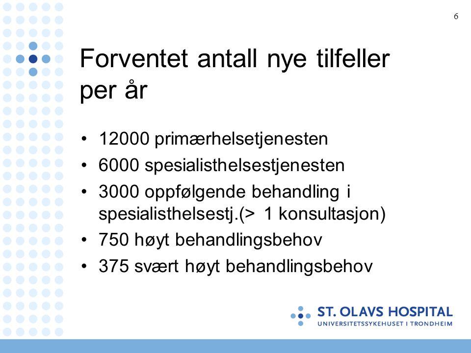 6 Forventet antall nye tilfeller per år •12000 primærhelsetjenesten •6000 spesialisthelsestjenesten •3000 oppfølgende behandling i spesialisthelsestj.
