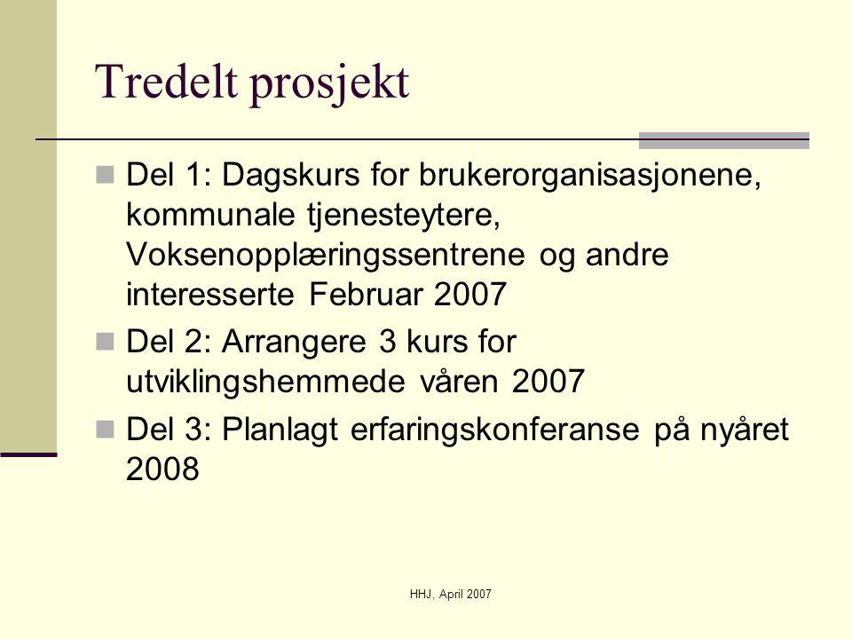 HHJ, April 2007 Tredelt prosjekt  Del 1: Dagskurs for brukerorganisasjonene, kommunale tjenesteytere, Voksenopplæringssentrene og andre interesserte