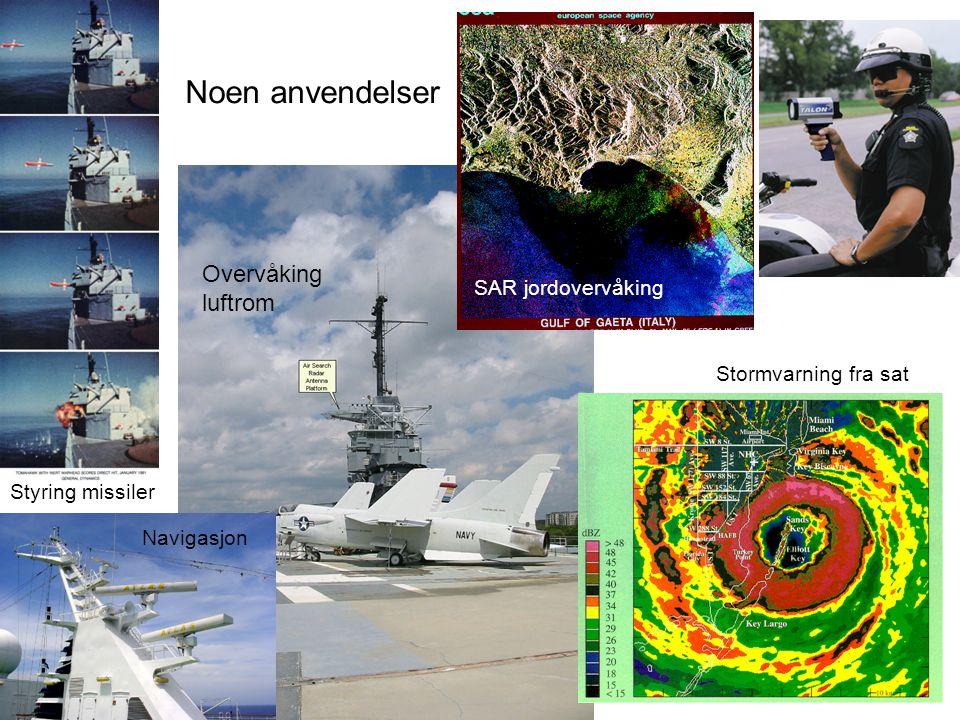 Noen anvendelser Stormvarning fra sat Styring missiler Navigasjon SAR jordovervåking Overvåking luftrom