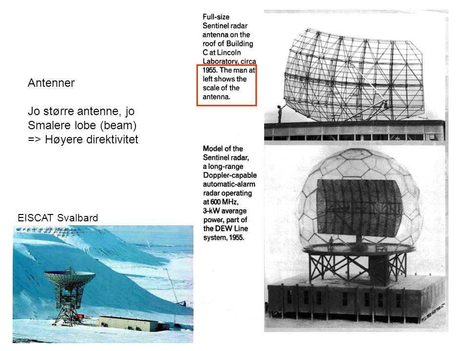 Antenner Jo større antenne, jo Smalere lobe (beam) => Høyere direktivitet EISCAT Svalbard