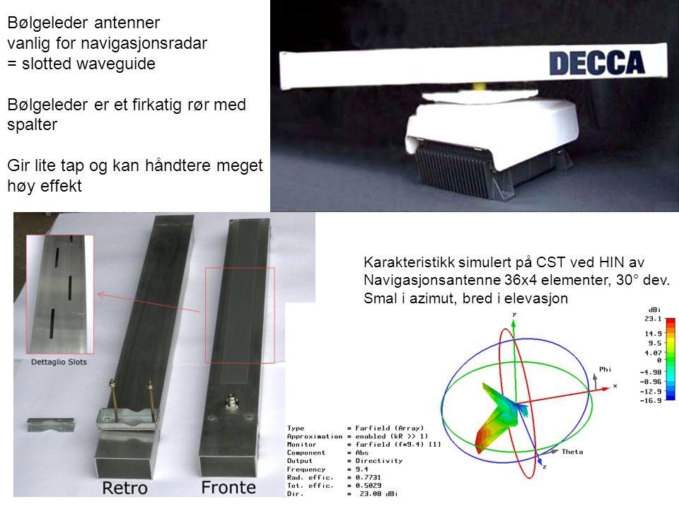 Bølgeleder antenner vanlig for navigasjonsradar = slotted waveguide Bølgeleder er et firkatig rør med spalter Gir lite tap og kan håndtere meget høy e