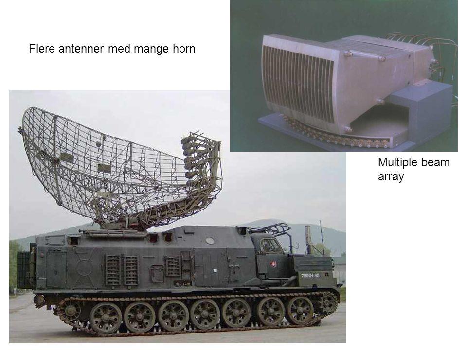 Flere antenner med mange horn Multiple beam array