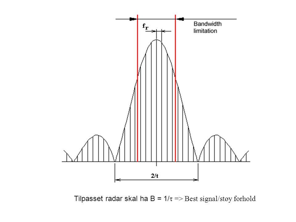 Tilpasset radar skal ha B = 1/ τ => Best signal/støy forhold