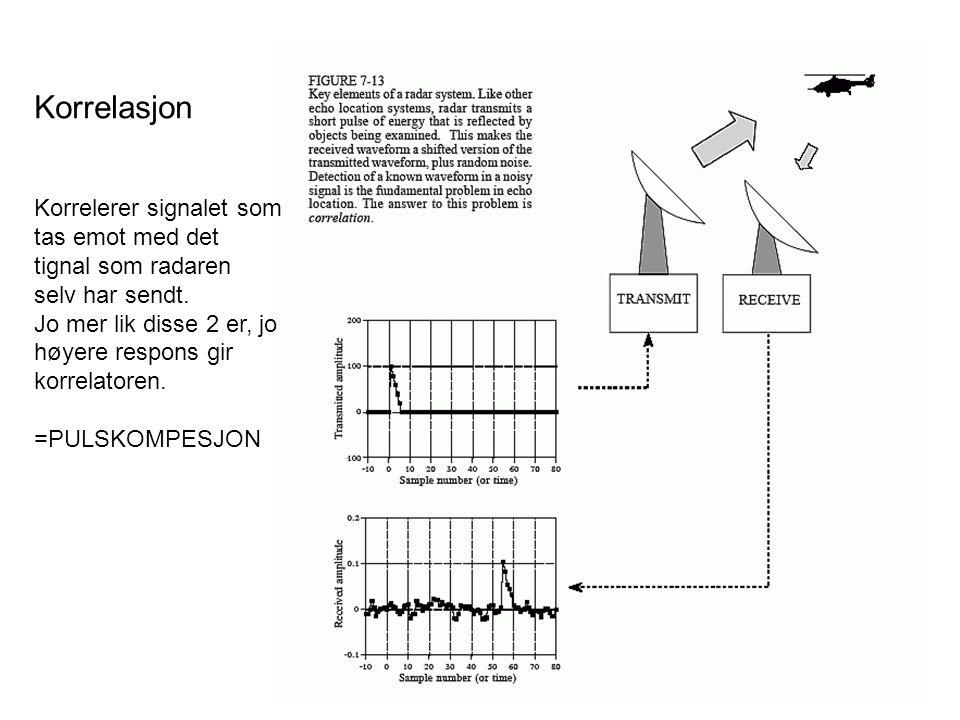 Korrelasjon Korrelerer signalet som tas emot med det tignal som radaren selv har sendt. Jo mer lik disse 2 er, jo høyere respons gir korrelatoren. =PU
