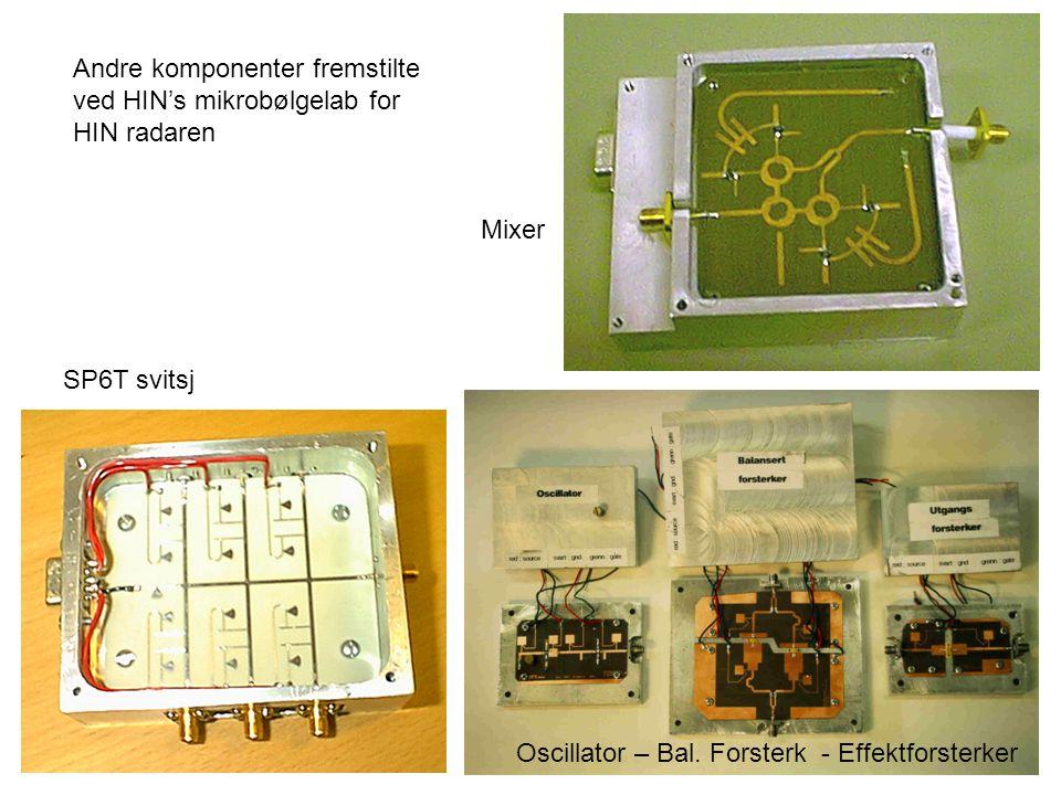 Andre komponenter fremstilte ved HIN's mikrobølgelab for HIN radaren SP6T svitsj Oscillator – Bal. Forsterk - Effektforsterker Mixer