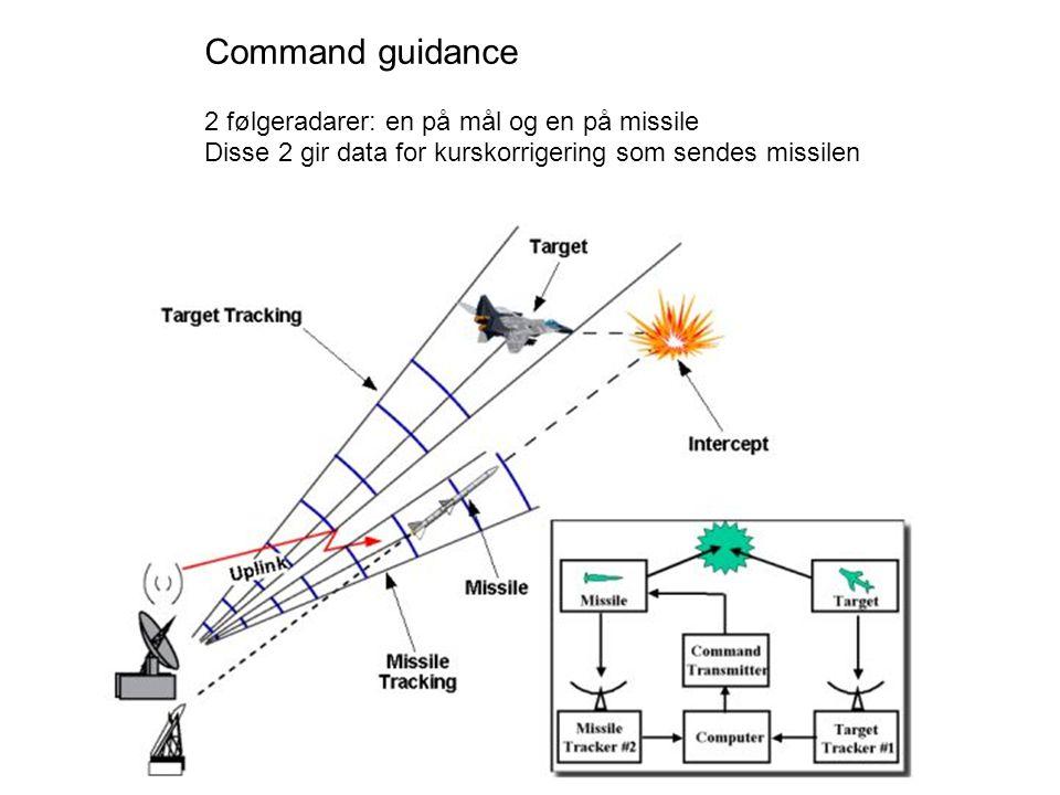 Command guidance 2 følgeradarer: en på mål og en på missile Disse 2 gir data for kurskorrigering som sendes missilen