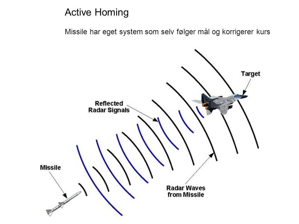 Active Homing Missile har eget system som selv følger mål og korrigerer kurs