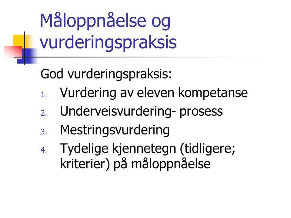Måloppnåelse og vurderingspraksis God vurderingspraksis: 1. Vurdering av eleven kompetanse 2. Underveisvurdering- prosess 3. Mestringsvurdering 4. Tyd