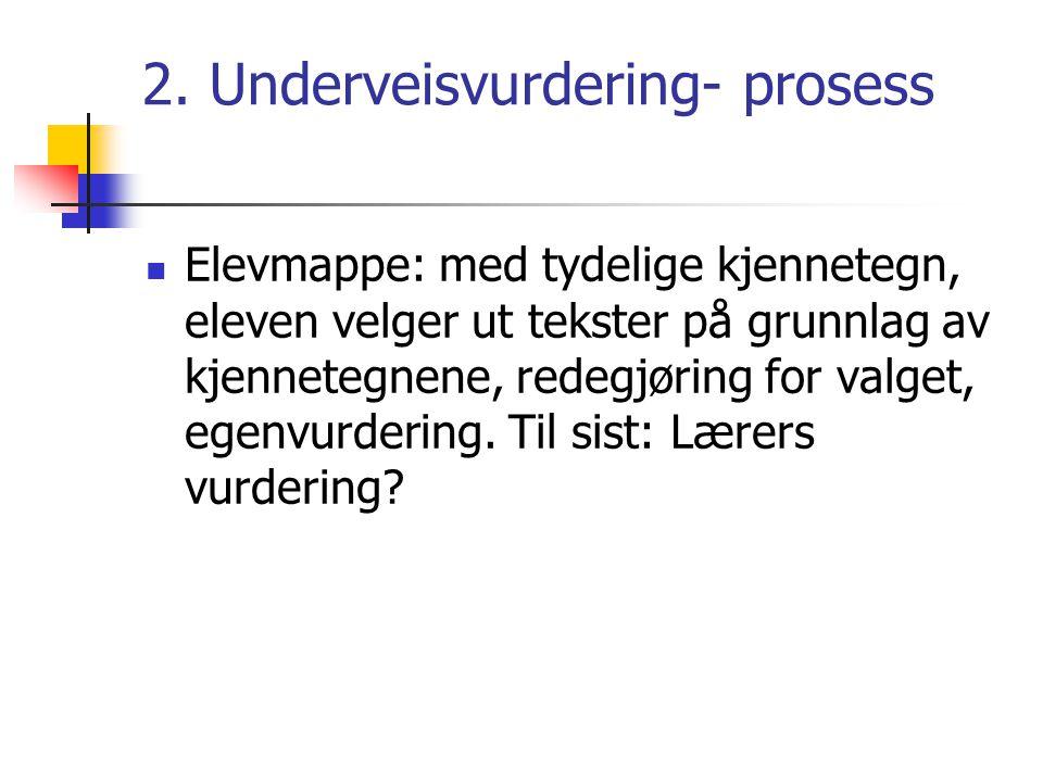 2. Underveisvurdering- prosess  Elevmappe: med tydelige kjennetegn, eleven velger ut tekster på grunnlag av kjennetegnene, redegjøring for valget, eg