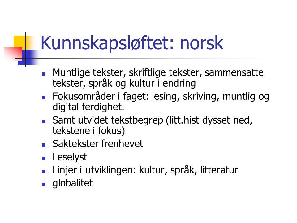 Kunnskapsløftet: norsk  Muntlige tekster, skriftlige tekster, sammensatte tekster, språk og kultur i endring  Fokusområder i faget: lesing, skriving