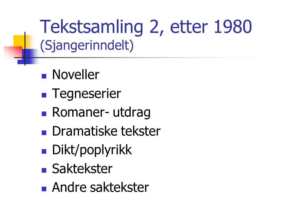 Tekstsamling 2, etter 1980 (Sjangerinndelt)  Noveller  Tegneserier  Romaner- utdrag  Dramatiske tekster  Dikt/poplyrikk  Saktekster  Andre sakt