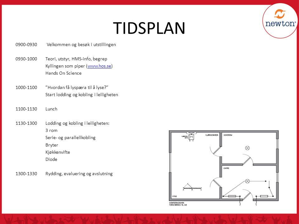 TIDSPLAN 0900-0930 Velkommen og besøk i utstillingen 0930-1000Teori, utstyr, HMS-info, begrep Kyllingen som piper (www.hos.se)www.hos.se Hands On Scie