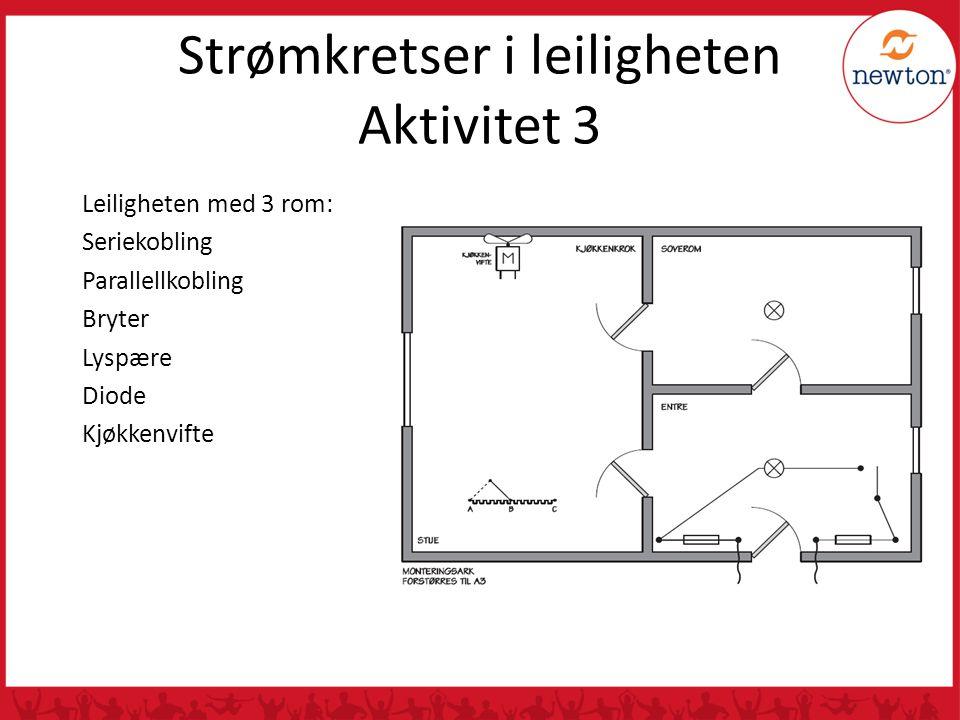 , Strømkretser i leiligheten Aktivitet 3 Leiligheten med 3 rom: Seriekobling Parallellkobling Bryter Lyspære Diode Kjøkkenvifte