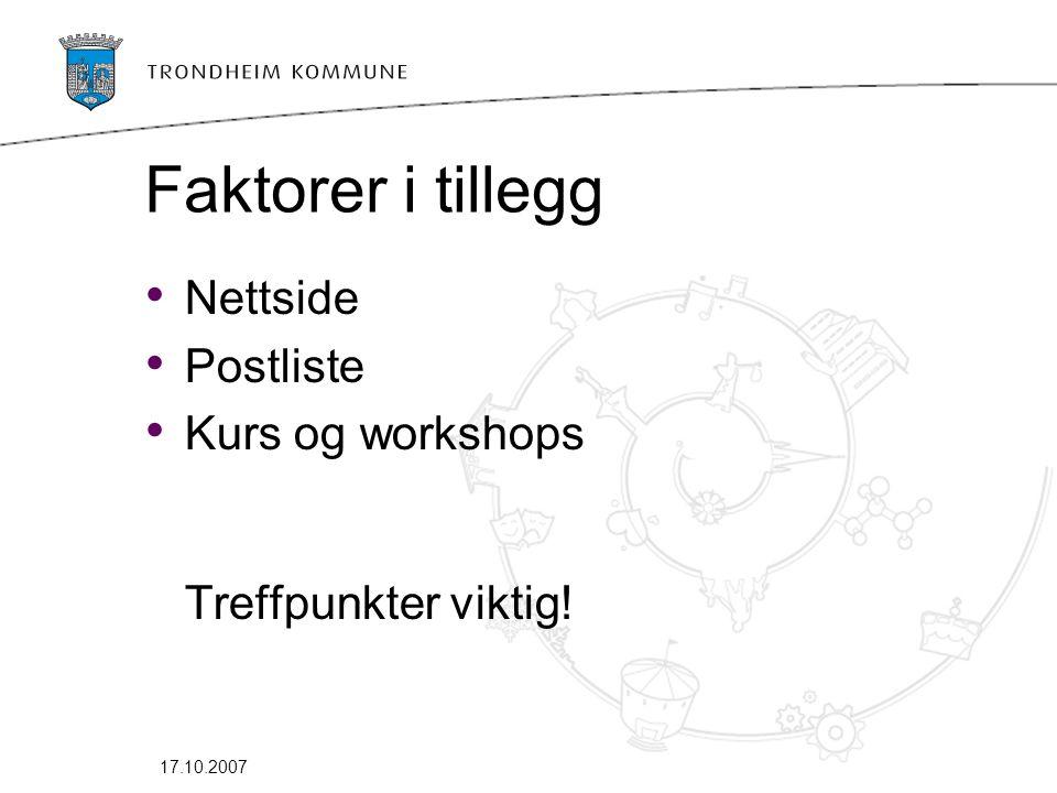 17.10.2007 Faktorer i tillegg • Nettside • Postliste • Kurs og workshops Treffpunkter viktig!