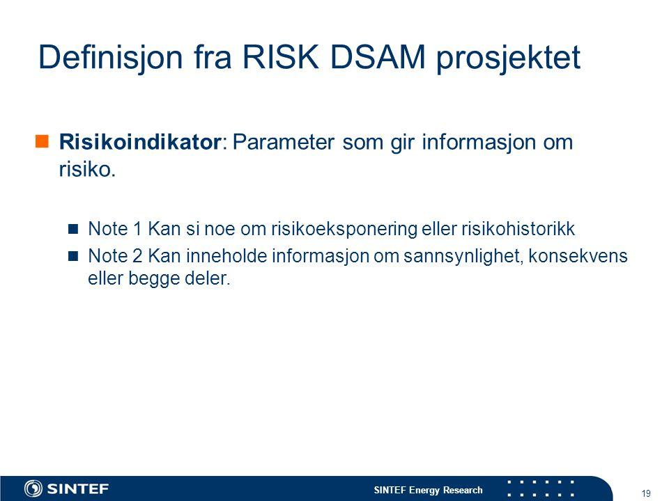 SINTEF Energy Research 19 Definisjon fra RISK DSAM prosjektet  Risikoindikator: Parameter som gir informasjon om risiko.  Note 1 Kan si noe om risik