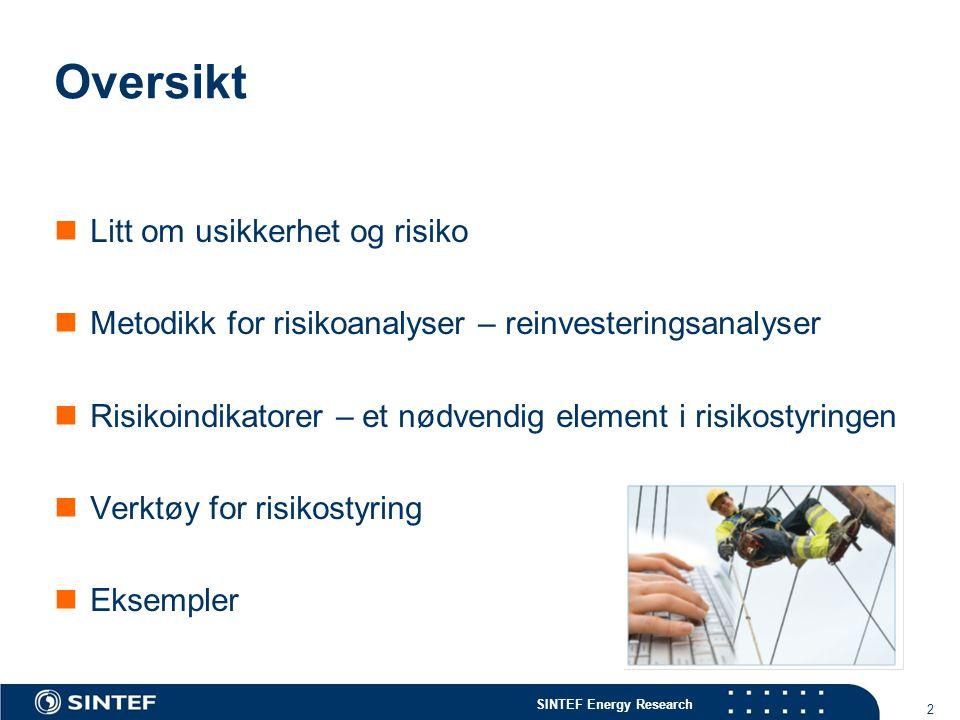 SINTEF Energy Research 3 3 The Risk DSAM project Risk Based Distribution System Asset Management  Mål: Bedre beslutningsmetodikk for vedlikehold og reinvesteringer i distribusjonsnett på  Strategisk nivå – gode strategier for håndtering av ulike nettanlegg  Prosjektnivå – gode beslutninger på prosjektnivå  Varighet 2006-2010