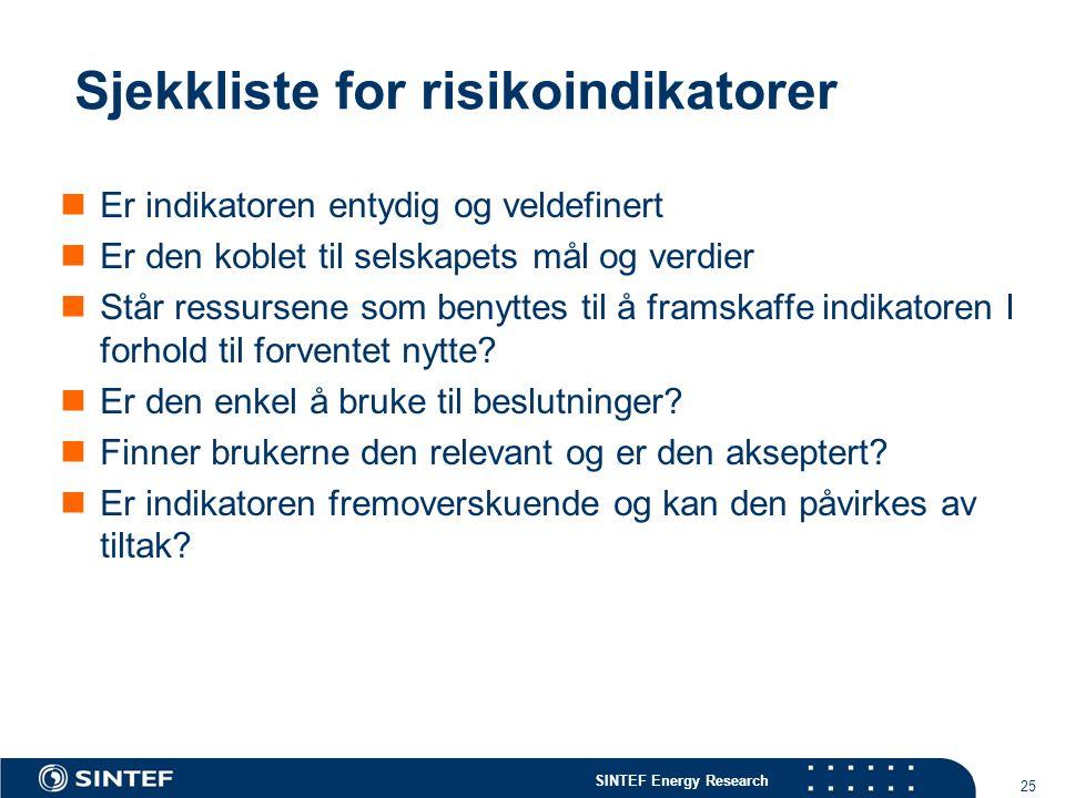 SINTEF Energy Research 25 Sjekkliste for risikoindikatorer  Er indikatoren entydig og veldefinert  Er den koblet til selskapets mål og verdier  Stå