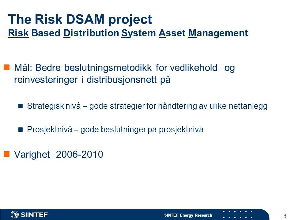 SINTEF Energy Research 3 3 The Risk DSAM project Risk Based Distribution System Asset Management  Mål: Bedre beslutningsmetodikk for vedlikehold og r