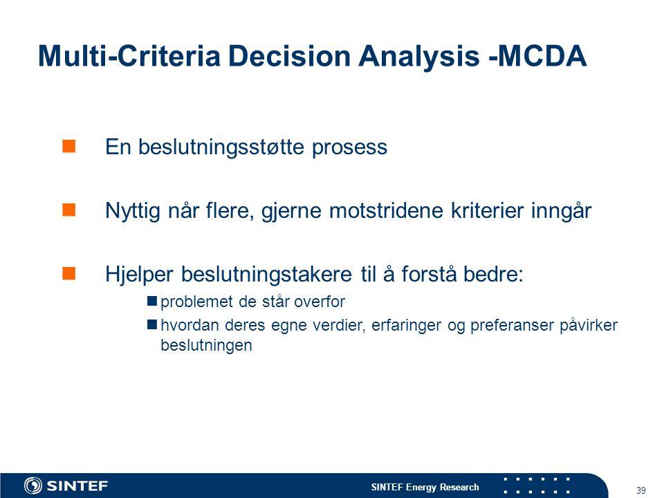 SINTEF Energy Research 39 Multi-Criteria Decision Analysis -MCDA  En beslutningsstøtte prosess  Nyttig når flere, gjerne motstridene kriterier inngå