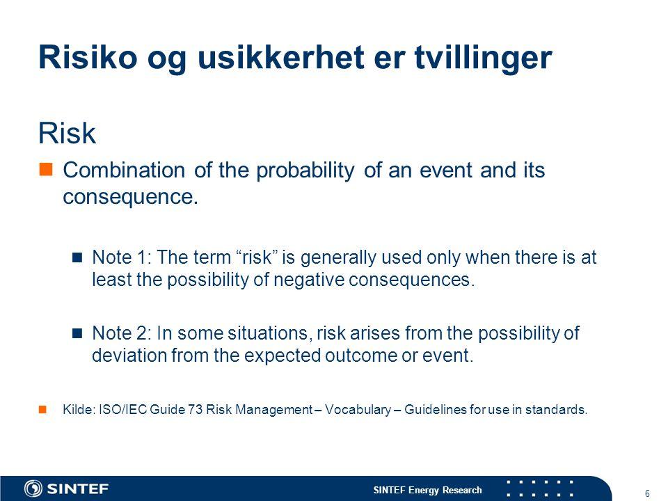 SINTEF Energy Research 17 Risikomodellering, Risikoanalyse, Beslutning Risikoberegninger - Sannsynlighet - Konsekvensmål - konsekvensindikatorer Risiko håndtering/ Risiko optimalisering - Risiko reduksjon - Overføring av risiko - Risiko erkjennelse Risikoaksept Risiko vurdering - Risikokriterier OK.