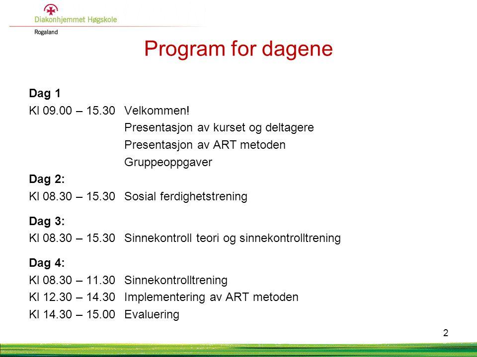 Bakgrunn for ART i Norge 1999 Goldsteinseminar Gardermoen 2002 Opprettelse av videreutdanning i trening av sosial kompetanse 2004ART-senteret etablert på etterspørsel fra fagfeltet.