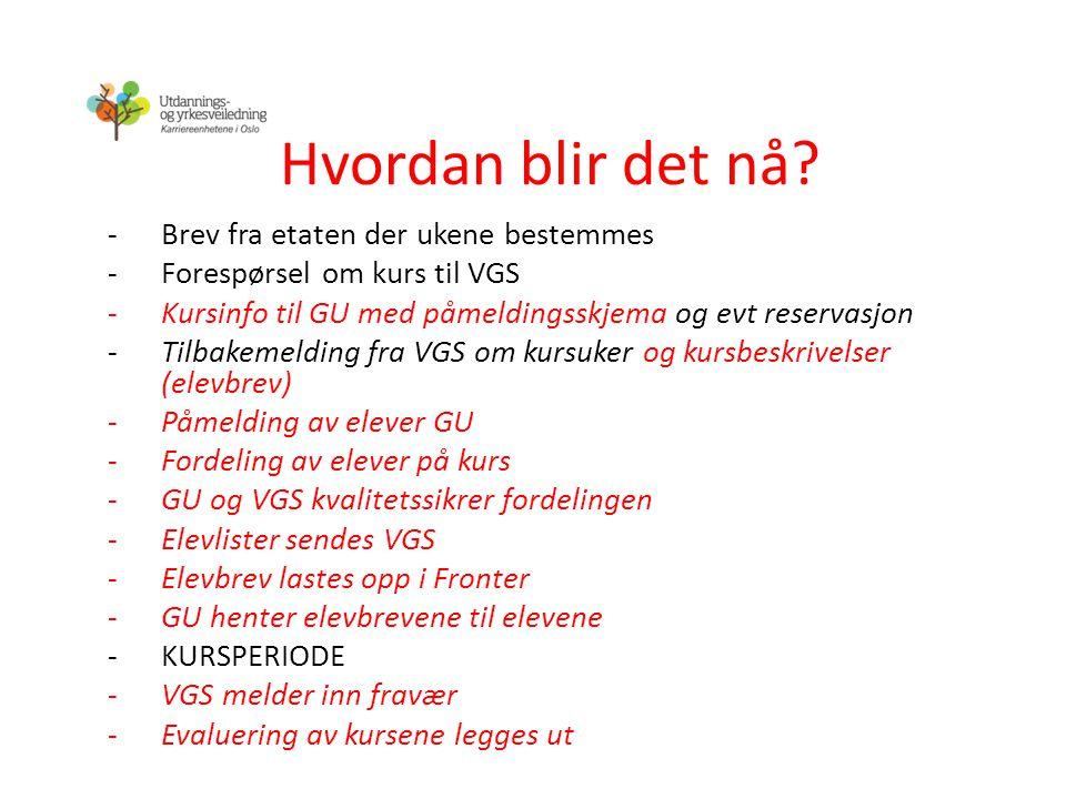 Hvordan blir det nå? -Brev fra etaten der ukene bestemmes -Forespørsel om kurs til VGS -Kursinfo til GU med påmeldingsskjema og evt reservasjon -Tilba