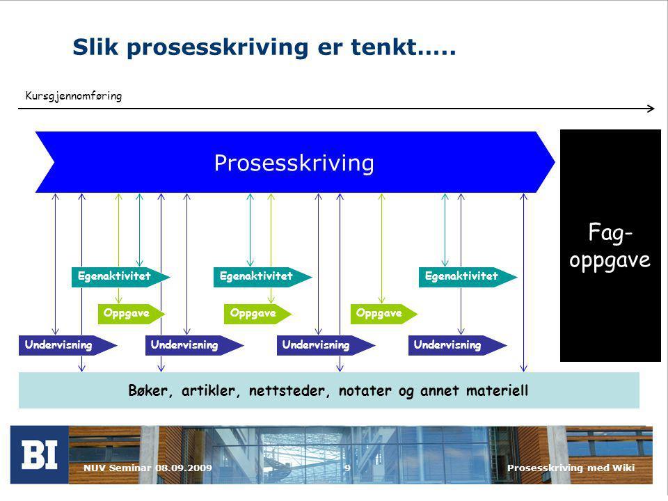 NUV Seminar 08.09.2009Prosesskriving med Wiki9 Slik prosesskriving er tenkt…..