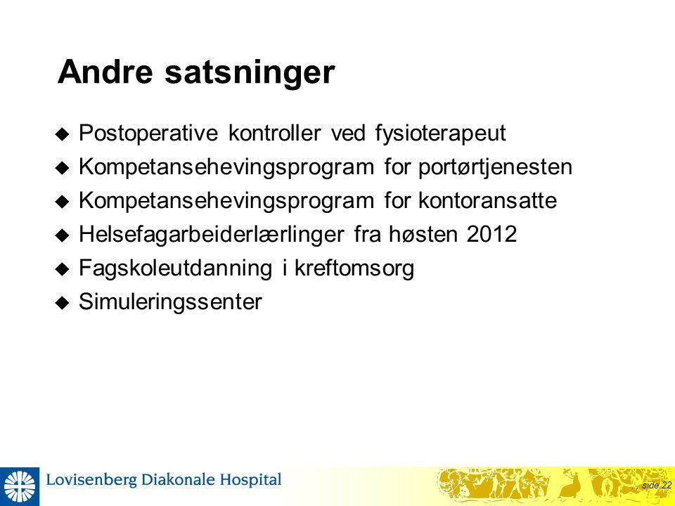 ,, side 22 Andre satsninger  Postoperative kontroller ved fysioterapeut  Kompetansehevingsprogram for portørtjenesten  Kompetansehevingsprogram for