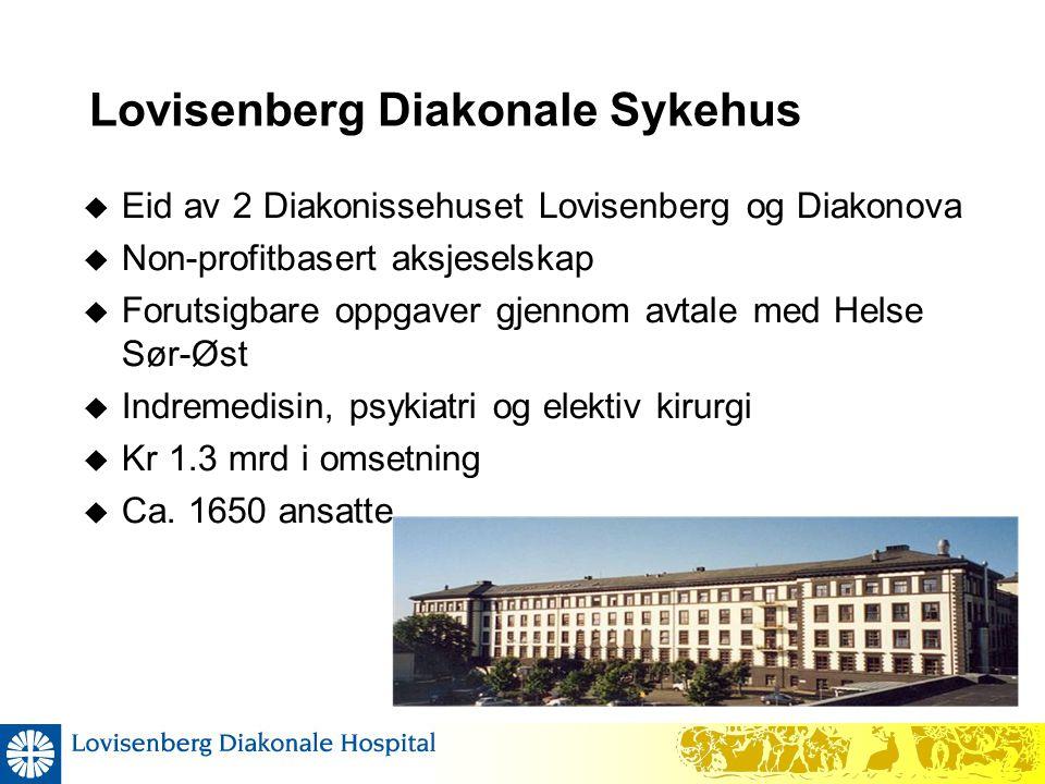 Lovisenberg Diakonale Sykehus  Eid av 2 Diakonissehuset Lovisenberg og Diakonova  Non-profitbasert aksjeselskap  Forutsigbare oppgaver gjennom avta