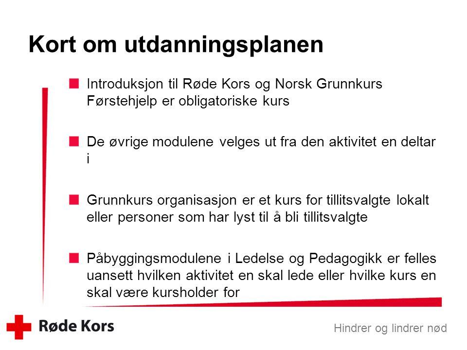 Hindrer og lindrer nød Kort om utdanningsplanen Introduksjon til Røde Kors og Norsk Grunnkurs Førstehjelp er obligatoriske kurs De øvrige modulene vel