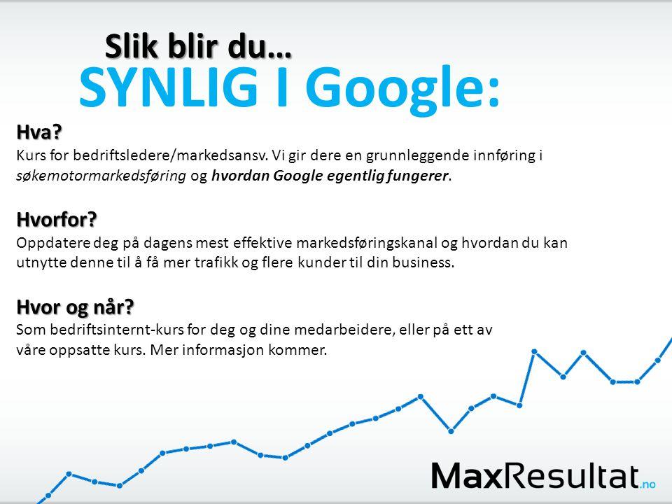 Slik blir du… SYNLIG I Google: Hva? Kurs for bedriftsledere/markedsansv. Vi gir dere en grunnleggende innføring i søkemotormarkedsføring og hvordan Go