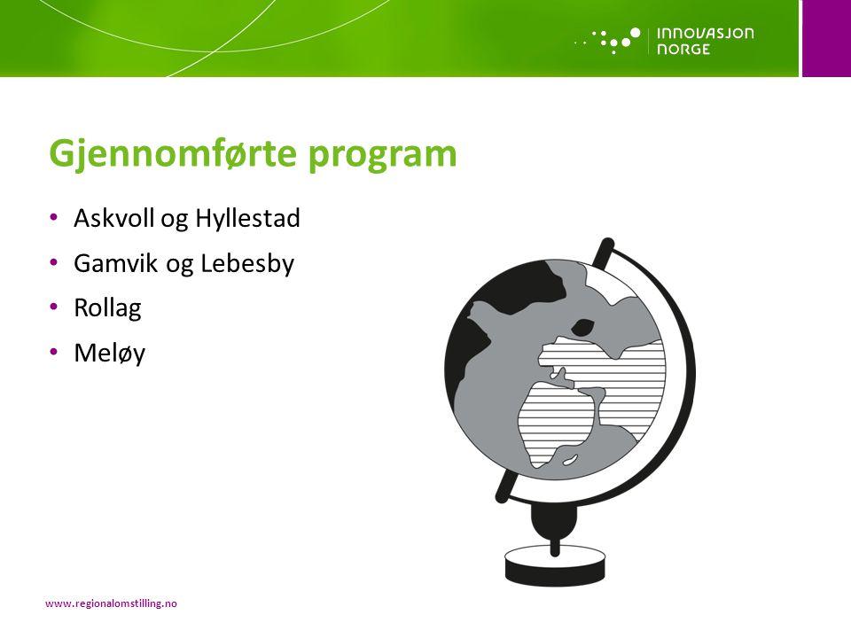 • Askvoll og Hyllestad • Gamvik og Lebesby • Rollag • Meløy Gjennomførte program www.regionalomstilling.no