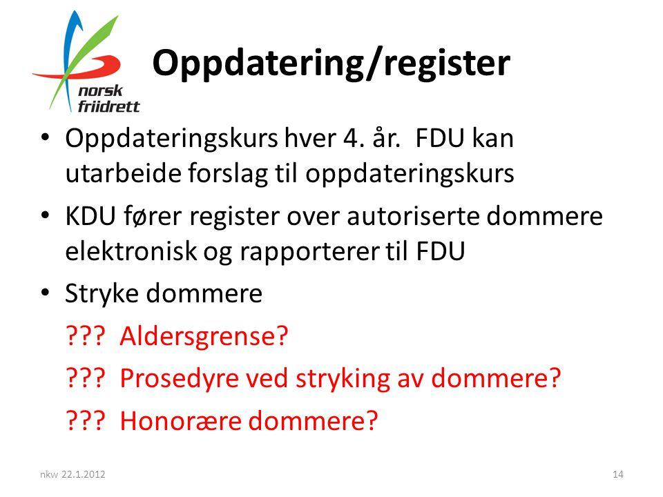 Oppdatering/register • Oppdateringskurs hver 4. år. FDU kan utarbeide forslag til oppdateringskurs • KDU fører register over autoriserte dommere elekt