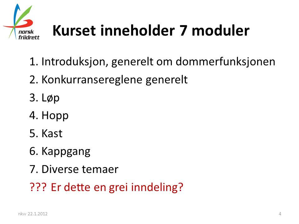 Kurset inneholder 7 moduler 1. Introduksjon, generelt om dommerfunksjonen 2. Konkurransereglene generelt 3. Løp 4. Hopp 5. Kast 6. Kappgang 7. Diverse