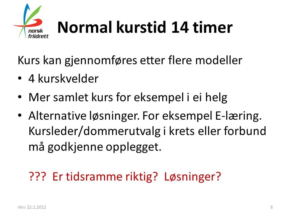 Normal kurstid 14 timer Kurs kan gjennomføres etter flere modeller • 4 kurskvelder • Mer samlet kurs for eksempel i ei helg • Alternative løsninger.