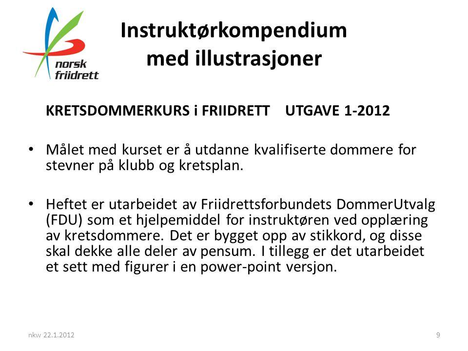 Instruktørkompendium med illustrasjoner nkw 22.1.20129 KRETSDOMMERKURS i FRIIDRETT UTGAVE 1-2012 • Målet med kurset er å utdanne kvalifiserte dommere for stevner på klubb og kretsplan.